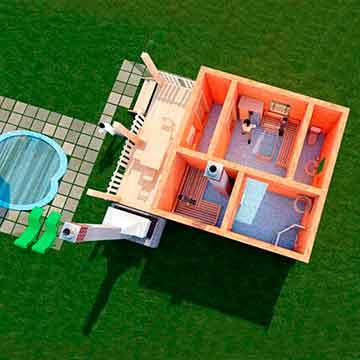 Эскизный проект бани 5х5м.